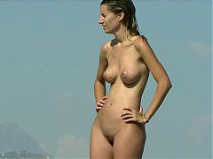 Nude Beach - Beautiful Young Woman - Great Tits