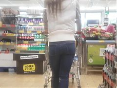 Tight tiny ass in jeans shopping sharp ass
