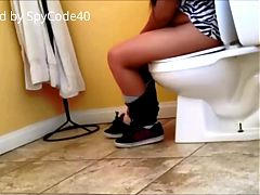 Spycam on Hispanic Girl using Toilet