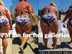 Bikini BBW Milf and Granny (Beach Voyeur Samples. SO HOT!)