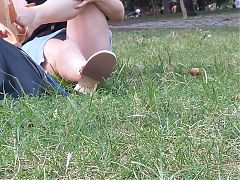 Upskirt in a park 12 (hairy lace)