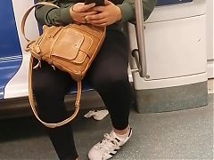 Candid Latina girl with Adidas Sneakers