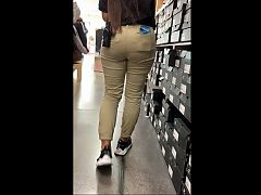 Thick Latina Teen Shoe Store Employee - Nice Bubble Butt
