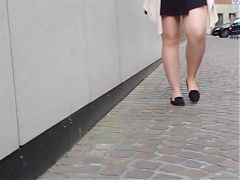 Milf in short black skirt nude pantyhose upskirt
