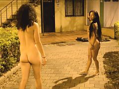 Violet and her horny friend walk naked through the streets
