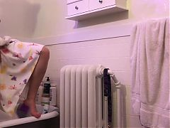 Hidden cam. Sweet tattooed girl in bathroom