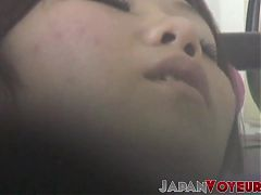 Voyeur Japanese lass relaxes while touching her wet pussy