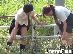 Japanese schoolgirls unleash their peeing power outdoors