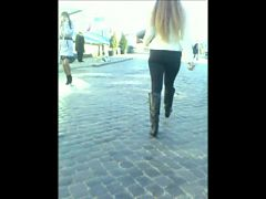 Hot candid ass walk in black tight pants