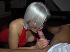 Cuckold husband films me giving a creampie to his wife