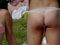 3 Girls In Thong's Relaxing And Exercising In Public