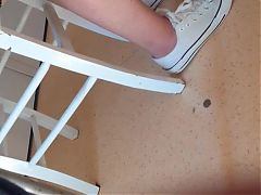 Candid legs under table 3