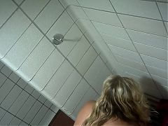 Blonde Taking a Shower after Beach Visit